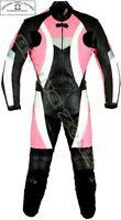 DYNAMIC PINK LADIES MOTORBIKE / MOTORCYCLE LEATHER JACKET TROUSER SUIT