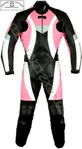 WOMENS DYNAMIC PINK LADIES MOTORBIKE / MOTORCYCLE LEATHER JACKET TROUSER SUIT