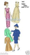 9491 Vintage Doll Wardrobe Clothes Pattern fits Barbie Teen Fashion