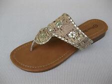 Pierre Dumas Womens Shoes $39 Rosetta Cork Gold Slide Sandal Thong 7 M