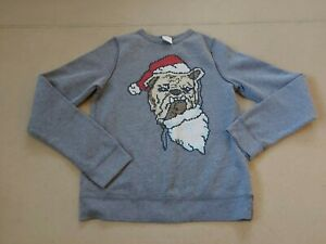 Abercrombie Kids Boy's Grey Long Sleeve Round Neck Pug Christmas Jumper Size XL