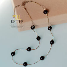 Collier Chaine Doré Perle Noir Simple Fashion Class Artisannal XXL 1