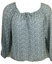 Lucky Brand size large silk blouse semi sheer top gray black layered look nice