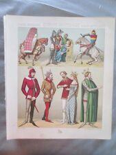 Vintage Print,EUROPE,CIVILS+MILITAIRES,LITIERE,Costume,Historique,1888,Racinet