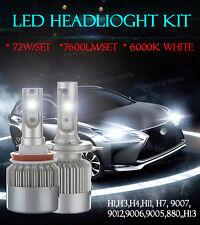 A Pair COB 72W LED Headlight Kit Bulbs Lamp 6K White H7 For Benz CLA250 CLK350