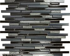 SAMPLE- Black Gray Natural Stone Porcelain Blend Mosaic Tile Kitchen Backsplash