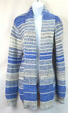 Lucky Brand Womens XL Blue Multi-Color Wrap Open Cardigan Pocket Sweater NEW NWT