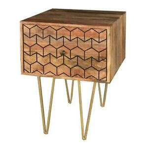 Wooden 1 Drawer Lamp Table with Golden Metal Frame / Stand made from Mango Wood