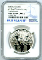 2020 $1 CANADA SILVER DOLLAR 75TH V-E VE-DAY NGC PF69 UCAM PROOF FIRST RELEASES
