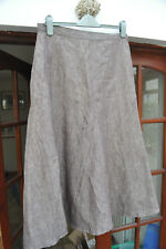 John Lewis brown calf-length linen skirt, lined - size 14 (small) - beautiful