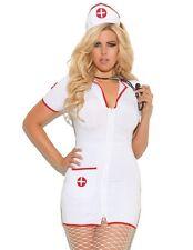 Nurse Halloween Costume 1X/2X Women Plus Sexy White Red Dress Head Nursing