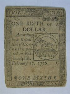 February 17 1776 one sixth 1/6th DOLLAR Colonial Fugio Continental Currency #2