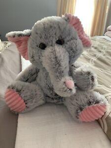"HUG FUN Grey & Pink 12"" Super Soft Elephant Plush"
