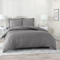 Duvet Cover Set Soft Brushed Comforter Cover W/Pillow Sham, Gray - Queen