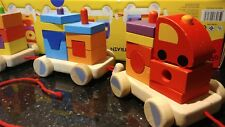 Pintoy pull along construction train wooden activity vintage toy