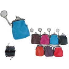 6pcs Leatherette Solid Multi Colors Coin Purse with Key Chain Case Bag Purse Lot