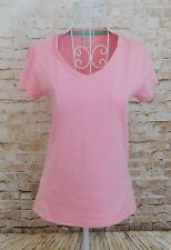TU Women's Pink Short Sleeve Stretch V-Neck Fairtrade Cotton Top Size 12