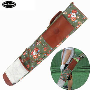 Tourbon Golf Clubs Bag Sunday Carry Case Side Pockets Collapsible Fashion Canvas
