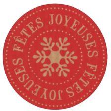 """40 étiquettes rondes 35 mm autocollantes """"joyeuses Fêtes """" rouge."""