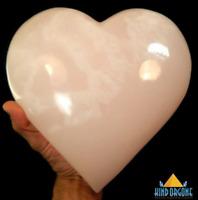 Pink Mangano Calcite 9Lb Crystal Heart XXL Palm Stone Rock, Turkey Crystals
