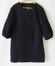 Apostrophe Coat Mid-Night Blue Crinkle 3/4 Bubble Sleeve Size S