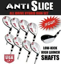 Senior Anti-Slice Oversize All Hybrid 3-PW Irons Woods 8 Club Set + Headcovers