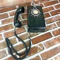 1973 Black Western Electric Bell System 554 Rotary Wall Telephone Vtg