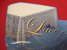 """NWT LACE Crochet FABRIC TABLECLOTH Scalloped Floral White 60"""" x 90"""" Oblong Rect"""