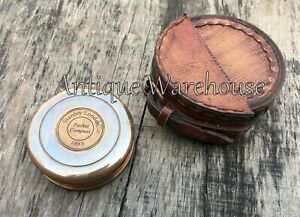 Nautical Solid Brass Working Compass With Leather Case Handmade Pocket Compass
