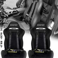"Universal 2X Tow 4 Point Safety Harness 2"" Inch Strap Seat Belt Black/Yellow"