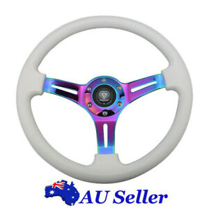 "14"" Universal JDM Deep Dish Corn White ABS Steering Wheel Neochrome Spoke 350mm"