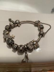 Pandora charm bracelet Sterling Silver Inc. safety chain & 12 charms #2