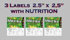 3 Product Vending Machine Candy Laminated Labels With Nutrition Free Shipping