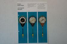 Schatz Queen Anne Wanduhr Prospekt 1960 70er Jahre deutsch Uhren Katalog B4996