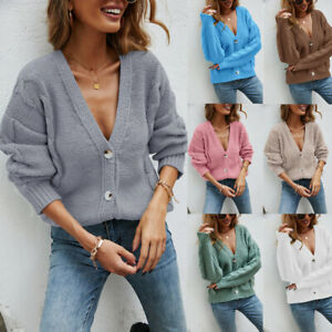Laides Women Chunky Cable Knitted Jumper Button Long Sleeve Winter Cardigan Coat