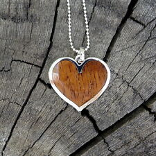 Koa Wood Hawaii Jewelry Scroll Heart Silver Rhodium Plated Brass Pendant BRP1008