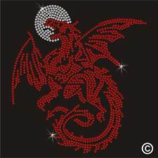 Pegamento Rhinestone Motif Red Dragon Luna Diamante transferencia Hierro En Gema De Cristal