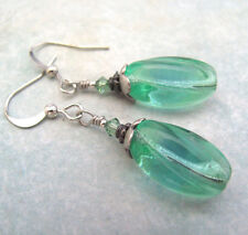 VINTAGE GLASS BEAD EARRINGS BLUE GREEN TWISTED DANGLE SILVER PLATED CRYSTAL