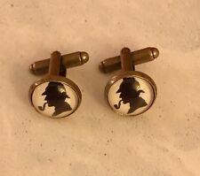 Sherlock Holmes 12mm Round Bronze Cufflinks Steampunk