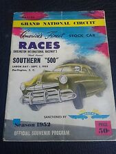 1952 Nascar Darlington Raceway Southern 500 Program and Tickets Fonty Flock Win