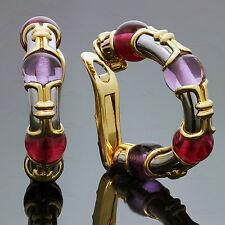 Stunning BULGARI Amethyst Tourmaline 18k Two-Tone Gold Clip-on Hoop Earrings