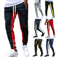 Mens Track Pants Skinny Casual Sports Jogging Bottom Running Gym Sweats Trousers