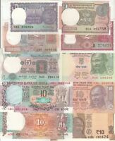 INDIA SET OF 10 PCS BANKNOTES All DIFFERENT (1+1+2+2+5+5+10+10+10+10 RUPEES) UNC
