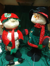 LARGE FIBEROPTIC ANIMATED MR & MRS SNOWMAN W/MOTION LIGHTS BOTH ARMS MOVE