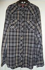 QUICKSILVER - WESTERN YOKE BLACK/YELLOW PLAID LS COTTON SHIRT - MENS XL