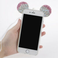 Funny Glitter Bling Crystal Mouse Ears Soft Clear Case Cover For iPhone 7 Plus