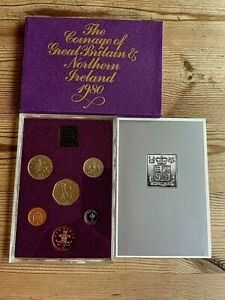 1980 BU Royal Mint 6 Coin Frosted PROOF Set Britannia  50p to 1/2p