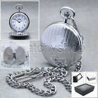 Silver Pocket Watch Men Fashion Quartz Brass Case with Chain and Gift Box P76