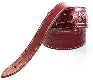 RED EMBOSSED TEXAN GENUINE LEATHER ACOUSTIC ELECTRIC BASS GUITAR STRAP - UK MADE