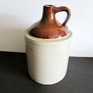 "Antique Original Brown & Cream Crockery Jug with Handle 11"" tall 19th C FREE SH"